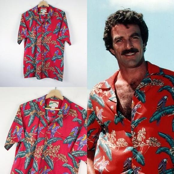 0f3692bf Vintage Tom Selleck Magnum P.I. Hawaiian Shirt L. M_5c94f9f77386bc4c00577cf2